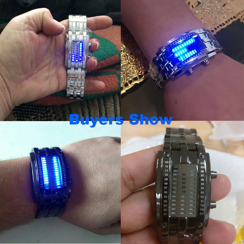 Luxury LED Electronic Blue Binary Watch Men Luminous Sports LED Watch Women Men Stainless Steel Digital Watch
