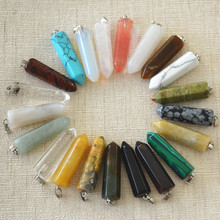 Wholesale 2015 Best Selling Fashion Assorted Natural Stone Point Pendants Charms Teardrop For Fine Women Jewelry 32x10mm 24pcs