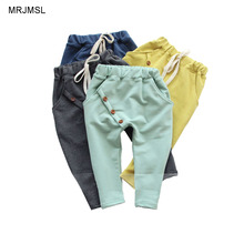 MRJMSL Hot selling size90~130 kids child 2018 clothes children pants for boys trousers girls harem pants solid three buttons(China)