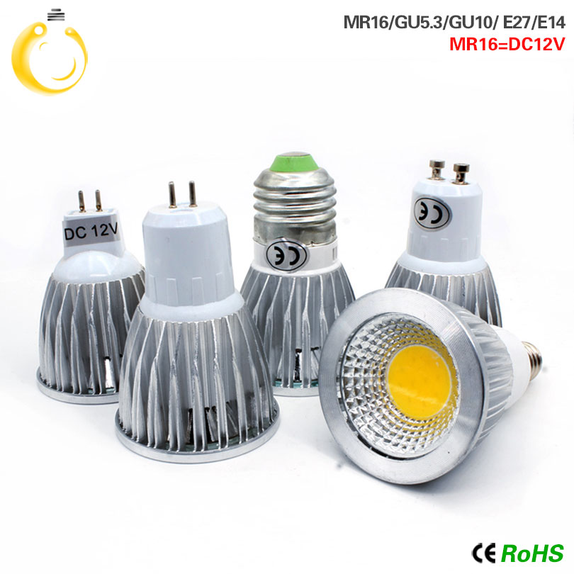 2016 new led COB 9W 12W 15W Led Spotlights Lamp 60 Angle GU10 E27 E14 GU53 Dimmable Led Bulbs led light AC 110-240V MR16 DC12V(China)