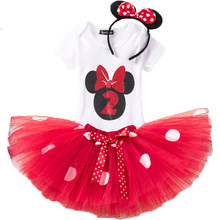 Tollder Girls Minnie Dot Clothing Set Children Kids 1 2 Birthday Romper T Shirt Tutu Dress