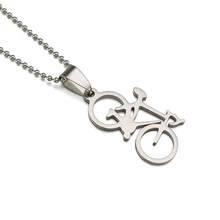 Kids Women Silver Tone Sport Bike Bicycle Pendant Charm Necklace SS Chain 60cm Long(China)