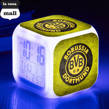LED Alarm Clocks 7 colors Flash dortmund Soccer Watch reus Night lights Desk wecker Luminous reloj despertador Christmas gifts(China)