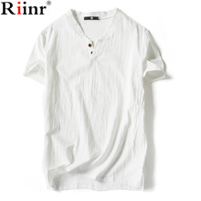 Riinr Men's Tops Tees 2017 summer new cotton v neck short sleeve t shirt men fashion trends tshirt free shipping size 5XL