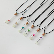 New Creative Women Necklace beach Style Love hope wish Drift Bottles Real Flowers Pendant Necklace Short Clavicle Chain Pendant