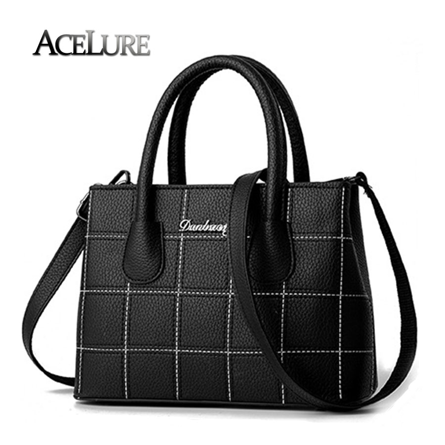 Fashion Plaid Shoulder Bags For Ladies,Women Deep Blue Handbags Sac A Main Female Pu Leather Crossbody Bags Casual Tote 8443<br><br>Aliexpress