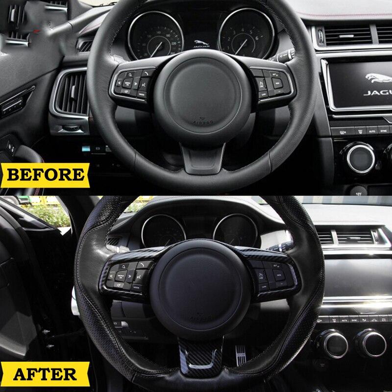Real Carbon Fiber Steering Wheel Logo Circle Cover Trim For Jaguar XF 2016-2019