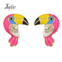 Jufee Lovely Cute Style Fashion Jewelry Colorful Enamel With Rhinestone Bird Parrot Shape Stud Earrings For Women Accessories(China)