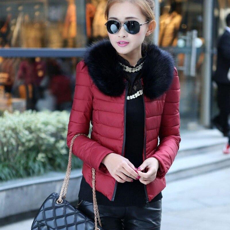 2016 Parkas Winter Warm Outerwear Women Down Cotton Slim Short Fur Collar Coat Jacket Female Snow Wear Brand M-XXL S1Одежда и ак�е��уары<br><br><br>Aliexpress