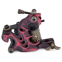 2016 Tattoo Machine Gun for Liner Shader 10 Wraps Coils Basic Starter Set Red Tattoo Tools Rotary Permanent Makeup Machine(China)
