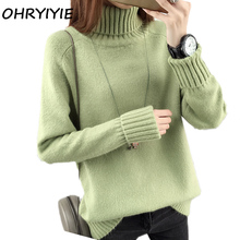 OHRYIYIE Autumn Winter Turtleneck Sweater Women 2017 New Design Green Thick Tricot Women Sweater And Pullover Female Jumper Tops(China)