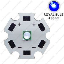 10pc 3W 450nm Royal Blue Color 3535 Epileds High Power Plant Grow LED Light Emitter Diode on 8mm/12mm/14mm/ 16mm / 20mm Star PCB
