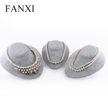 FANXI Free Shipping MDF Wrapped with Gray Velvet Jewellery Display Mannequins with Cardboard Support Shelf Necklace Busts(China)
