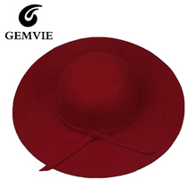 100% Pure Cashmere Wool Felt Hats Women Solid Wide Large Brim Women Fedora Hat Vintage Floppy Pattern Cap Female new year gifts(China)