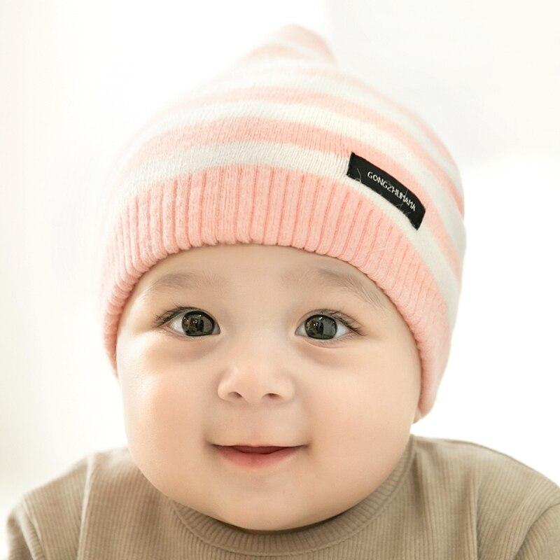 CieiK Newborn Photography Props Soft Baby Hat Warm Children Winter Cap Boys Girls beanie Infant Striped Muts Baby Accessories (7)