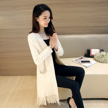 spring autumn women fashion tassel long open Sweaters cardigans women casual Sweaters