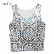Jastie Vintage Sunflower Sequin Top With Transparent Mesh Back U Neck Contrast Color Small Sequin Tank Crop Top Blusas Feminino