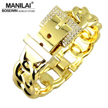 MANILAI Fashion Women Belt Design Bracelets Accessories Zinc Alloy Rhinestones Metal Charm Cuff Bangles Statement Jewelry 2016
