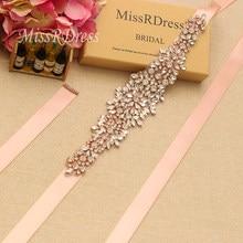 MissRDress Rose Gold Rhinestone Wedding Belt Big Size Crystal Flower Bridal  Belt And Sash For Wedding Evening Long Dresses JK898 96c40368d890