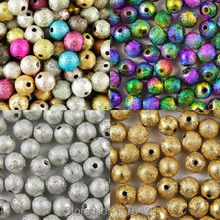 Mixed Silver Gold Rainbow Stardust Acrylic Round Ball Spacer Beads Charms Findings 4 6 8 10 12 20mm For Jewelry Making Craft DIY