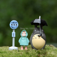 upgrade plush doll cute Totoro bus station children toy decoration for Potted plants sclupt figure models 3pcs per set