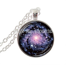 New arrival nebula Pendant Glass Art galaxy jewelry Milky Way Space statement necklace for women men gifts jewellery wholesale