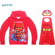 2017 Kids Boys Hoodies Shirt Cartoon Ninjago T-shirt Sweater Baby Girls Tops Tees Top Shirts+cape Sets Christmas Party Cosplay
