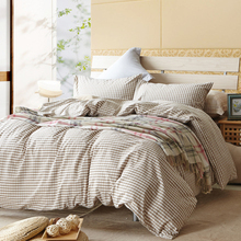 Beige plaid Brief Plaid sheets Queen king twin duvet cover set 100% Cotton bedding sets fast shipping
