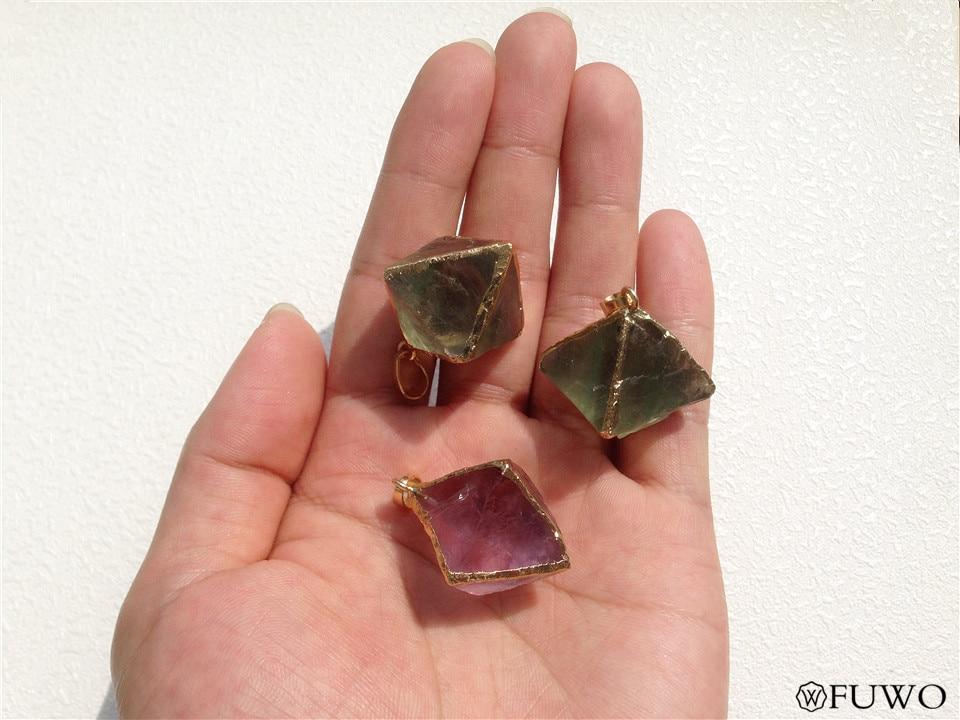 Natural Fluorite Stone Pyramid Shape Stone Pendant 9
