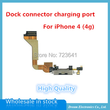 10pcs/lot Best Quality New Dock Connector Charging Port Flex Cable Replacement for iPhone 4 4G Black / White repair parts