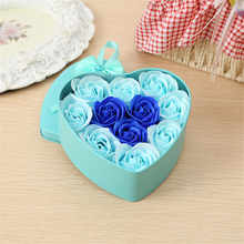11Pcs/Box Colorful Heart-Shaped Rose Soap Flower Romantic Wedding Party Gift Hand make Petals Decor(China)