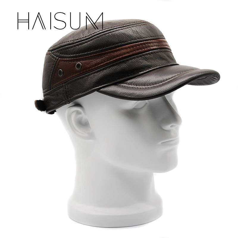 Gorras Winter Military Hats Haisum Genuine Leather Men's Military Cap Hat Best Dad Cowhide Adult Solid Adjustable Cs36