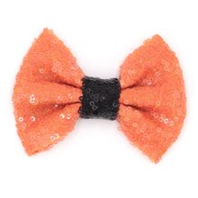 "10pcs/lot ePacket/CAPA Free 4"" Halloween Orange Black Sequin Messy Bow Without clip, Hair Accessory ,Hair Bow for Headband/Clips(China)"