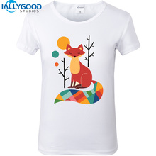 2017 New Summer Cute Animal Raccoon Fox Sloth Print 3D T-shirts Short Sleeve Slim White T shirts Casual Women Tops S404(China)