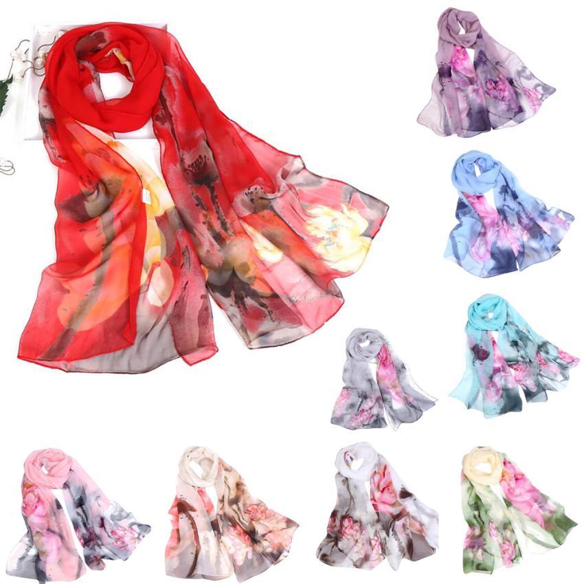 Fashion Women Lotus Printing Long Soft Wrap Scarf Ladies Shawl Scarves