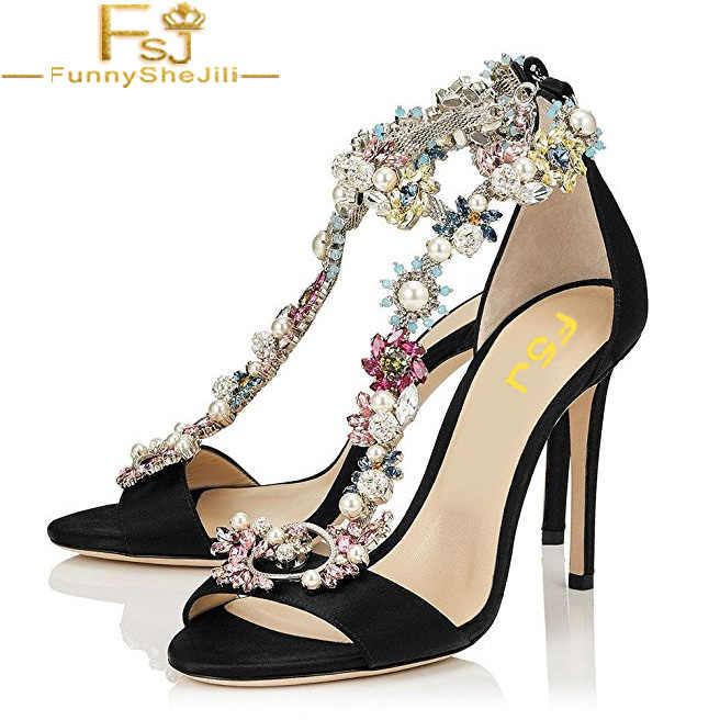 e7509820c39 Cocktail Party Evening High Heeled Stilettos Wedding Rhinestones Sandals T- Strap Women shoes Ankle Strap