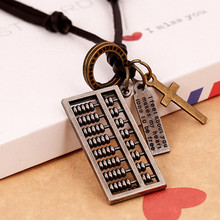 Retro men genuine leather rope necklace long Abacus male leather cord necklace male pendant necklace male Jewelry accessories