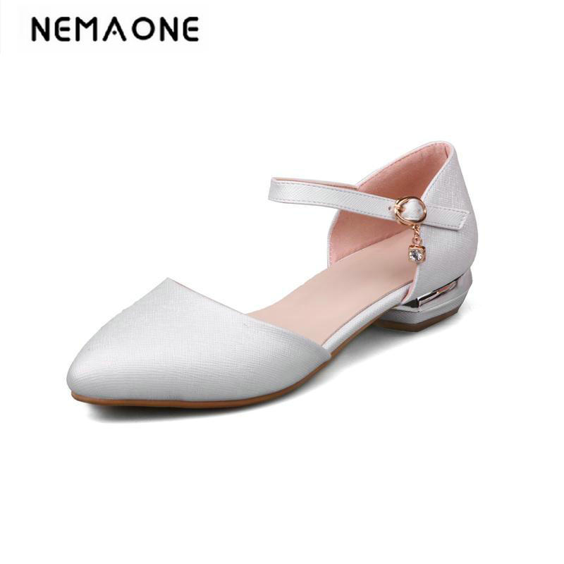 2018 New summer women shoes low heels shoes poined toe casual shoes woman white beige blue pink large size 34-43<br>