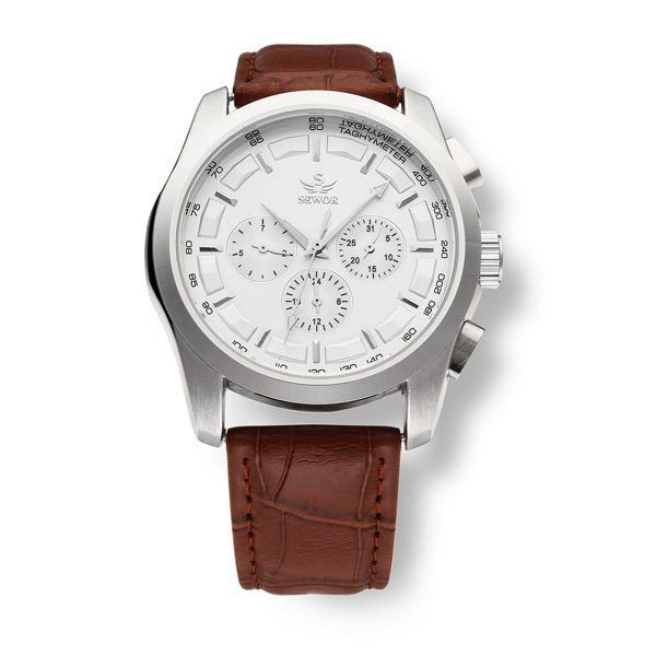 Sewor Black Brown Mechanical 3 Dial Men Wrist Watch<br><br>Aliexpress