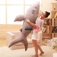 Dorimytrader 160cm JUMBO Soft Simulated Animal Shark Plush Toy 63''  Huge Stuffed Sharks Kids Play Doll Pillow Baby Gift DY61355