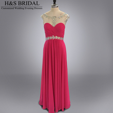 2015 New arrival Designer boat neck colorful stone beaded fuchsa prom evening dress