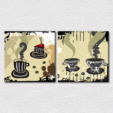 Cafe Decoration supply modern art coffee and cake picture printed on canvas home decoration painting 2pcs set fine wall art