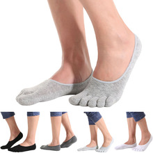 1 Pair Summer Fashion White Black Five Finger Toes Sock Invisible Nonslip Ankle Cotton Blend Socks