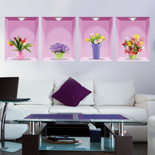 New Can Remove The Green Wall Stick Home Sitting Room 3D Decorative Stickers Manufacturers Wholesale And Fresh Flowers(China)