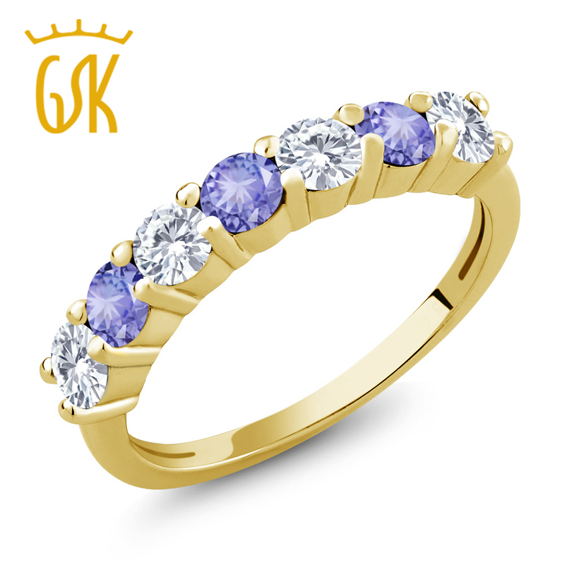 Amazing USA 1.10 Ct Created Moissanite Blue Tanzanite 18K Yellow Gold Plated Silver Ring Natural Sexy Women Fine Jewelry(China (Mainland))