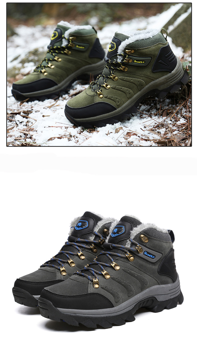 Luxury Men Boots Men Winter Snow Boots Warm Fur&plush Lace Up High Top Work Men Designer Driving Sneakers Male Winter Boots 19