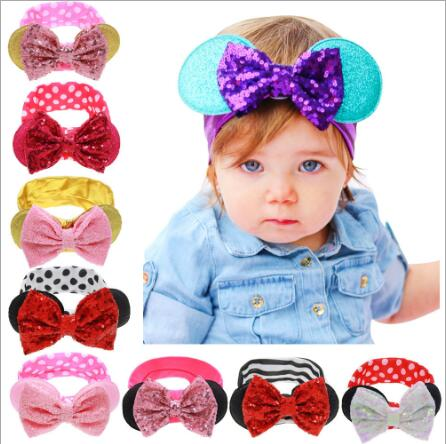 Hot! Children girls headbands Baby cute rabbit ear headwraps Girls fashion hair accessories Kids shiny bowknot hair bands 1pc