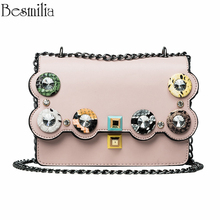 2017 Women's Handbag Diamonds Colorful Rivet Trend Chain Shoulder Bag Casual Messenger Cross Body Bag Mini Wave Side Purse