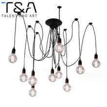 Overseas warehouse Big Discount Vintage Spider Multi Heads Pendant Lights For Loft Restaurant Living Room Decorative Drop Lighting(China)