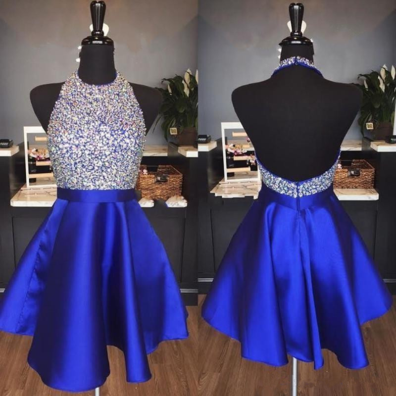 Holievery Beaded Satin Short Prom Dresses with Halter Neck 2019 Royal Blue Dark Red Knee Length Party Homecoming Dress